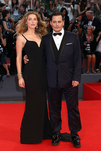 VENICE, ITALY - SEPTEMBER 04: Johnny Depp and Amber Heard attend a premiere for 'Black Mass' during the 72nd Venice Film Festival on September 4, 2015 in Venice, Italy. (Photo by Elisabetta A. Villa/WireImage)